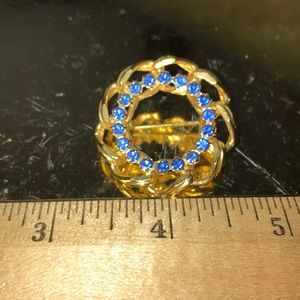 Vintage Gold Chain Circle Pin with Blue Stones